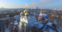 Novodevichiy convent in winter. Aerial. Moscow. Stock Footage