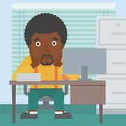 Tired man sitting in office vector illustration Stock Illustration