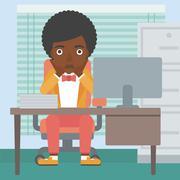 Tired woman sitting in office vector illustration - stock illustration