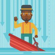 Businessman standing in sinking boat - stock illustration