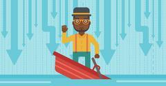 Businessman standing in sinking boat Stock Illustration