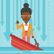 Business woman standing in sinking boat Stock Illustration