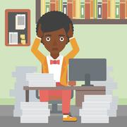 Business woman in despair sitting in office Stock Illustration