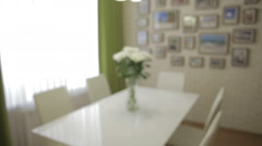 Beautiful bouquet of white chrysanthemums in home interior - stock footage