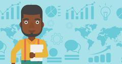 Happy successful businessman vector illustration Stock Illustration