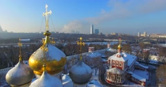 Novodevichiy convent in winter. Aerial. Moscow. - stock footage