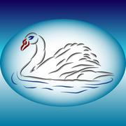 Swan silhouette on a plate. Stock Illustration
