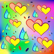 Cheerful drops and heart. - stock illustration