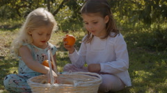 Two children sitting and playing with basket of oranges - stock footage