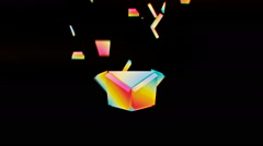 Rotating rainbow colored 3D object disconnecting - VJ Loop - stock footage
