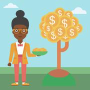 Business woman catching dollar coins Stock Illustration
