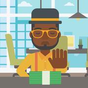Man refusing bribe vector illustration - stock illustration