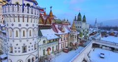 Flying over the colorful edifice of Izmaylovo Kremlin. Stock Footage