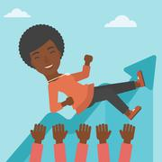 Successful business woman during celebration Stock Illustration