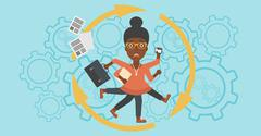 Business woman coping with multitasking Stock Illustration