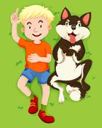 Boy and pet dog on grass Piirros