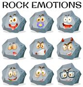 Rock with different facial expressions Stock Illustration