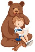 Boy and grizzly bear Stock Illustration