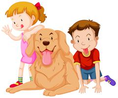 Two kids with their pet dog Stock Illustration