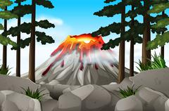 Nature scene with volcano and forest Stock Illustration