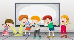 Children being sick at school Stock Illustration