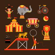 Vector set of circus artists, acrobats and animals isolated on white background Piirros