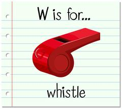 Flashcard letter W is for whistle Piirros