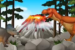 Scene with dinosaurs and volcano Stock Illustration