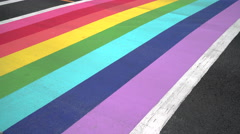 Pride Crosswalk Vehicle and Foot Traffic, Vancouver 4K, UHD Stock Footage