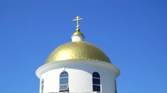 Dome with a cross Orthodox church against the sky Stock Footage
