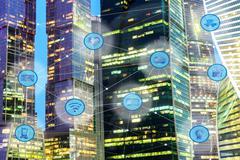 City and wireless communication network Stock Illustration