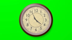 Retro clock on a green background with a looping animation. Stock Footage