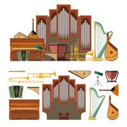 Vector set of musical instruments in flat style. Design elements and music icons Piirros