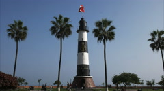 Morning view of la marina lighthouse in miraflores, lima Stock Footage