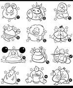 overweight cartoon zodiac signs - stock illustration