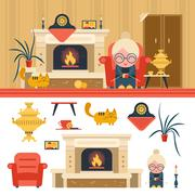 Vector set of house living room interior objects in flat style. Grandma sitting - stock illustration