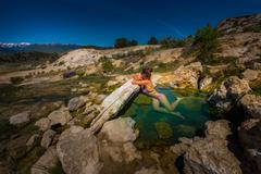 Travertine Hot Springs California - stock photo
