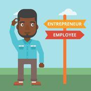 Confused man choosing career pathway - stock illustration