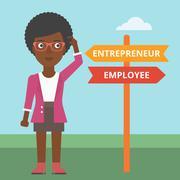 Confused woman choosing career pathway - stock illustration