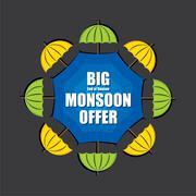 big monsoon offer banner design - stock illustration