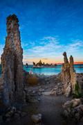 Mono Lake South Tufa after Sunset Vertical Composition - stock photo
