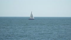 The yacht is under sail floats on the high seas Stock Footage