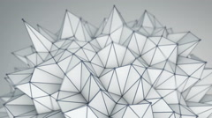 Spiky low poly shape. Futuristic 3D render 4k UHD (3840x2160) - stock footage