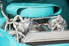 Chrome and blue engine bay Stock Photos