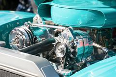 Turquoise engine bay Stock Photos