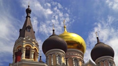 Dome and bell tower of the Orthodox church. Stock Footage