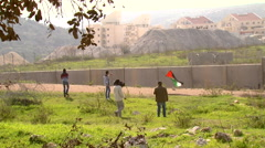 Bilin in the West Bank, Palestinian protests against the separation wall Stock Footage
