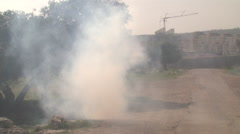 Teargass in Bilin in the West Bank, protests against the separation wall Stock Footage
