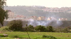 Bilin, a village in the West Bank, protests against the separation wall Stock Footage