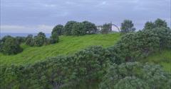 Aerial over rainbow warrior memorial at Matauri Bay, Northland, New Zealand Stock Footage